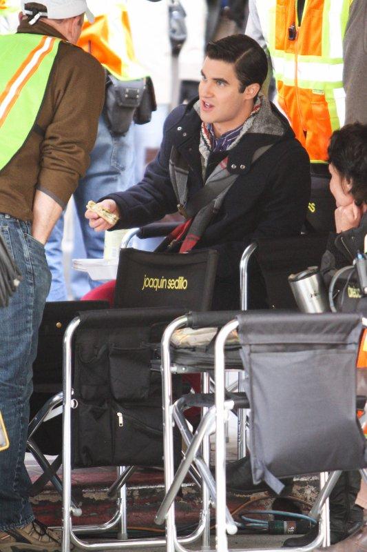 Darren sur le tournage de Glee