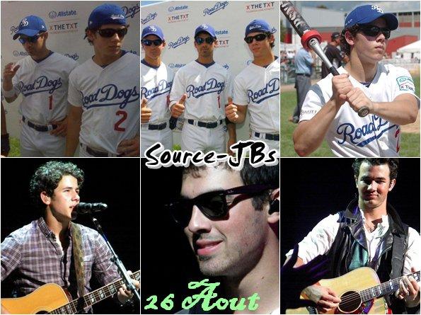 - 26/08 : Les Jonas jouant au   Softball à Brockton _______________27/08 : Concert à Camden   & Le soir concert aux Massachusetts___________________Pour le world tour !