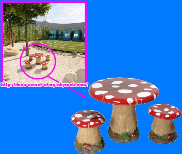 SET DE 1 TABLE + 2 CHAISES CHAMPIGNON - Deco Secret Story