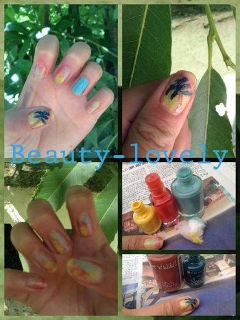 Nail Art Palmiers & Aquarelle