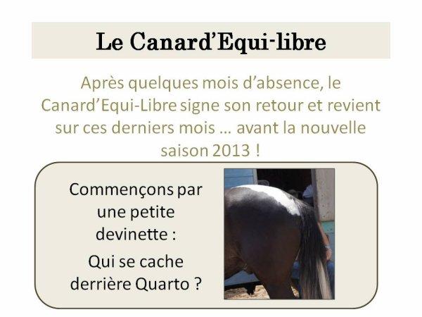 LE CANARD'EQUI-LIBRE DE LA RENTREE PAR ISABELLE