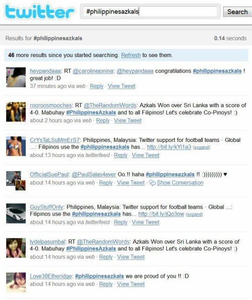 Filipinos and Malaysians cheer for their football teams on twitter