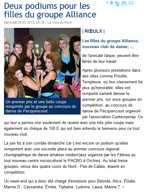 Alliance Dans le journal !