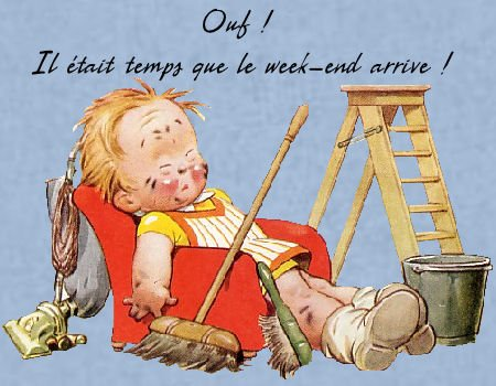 -ooo- Enfin  le week-end, pas de ménage, lessive, repassage .... du repos ! au placard balai, fer à repasser ........... -ooo-