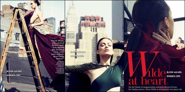 """_  AOUT___Olivia fait la cover du magazine Marie-Claire US, le shoot a été réalisé à Manhattan par le Tesh.Olivia porte de magnifiques robes de soirée. Dans l'article """"Wilde at Heart"""", Olivia parle de sa vie après son divorce.  _"""