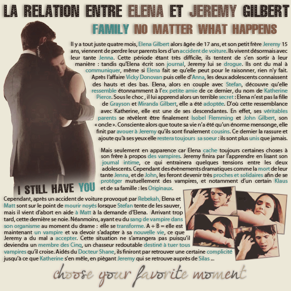 • Article : Elena & Jeremy Gilbert (The Vampire Diaries)_______________________________-Newsletter- || -Création- || -Inspiration-