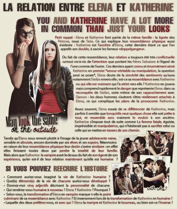• Article : Elena Gilbert & Katherine Pierce (The Vampire Diaries)________________________-Newsletter- || -Création- || -Inspiration-