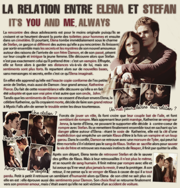 • Article : Elena Gilbert & Stefan Salvatore (The Vampire Diaries)______-__________________-Newsletter- || -Création- || -Inspiration-