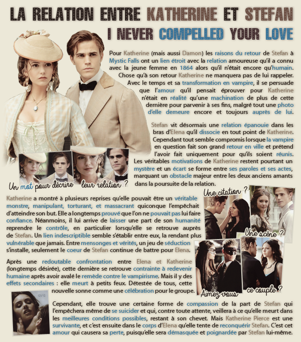 • Article : Katherine Pierce & Stefan Salvatore (The Vampire Diaries)______________________-Newsletter- || -Création- || -Inspiration-