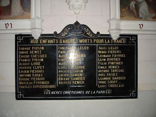 ANDRES:monument et plaque eglise 1914 1918