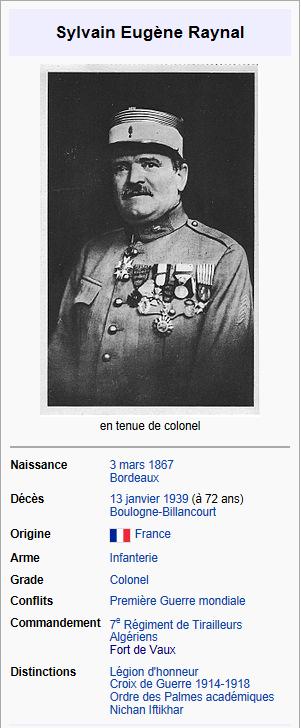 FORT DE VAUX  ET COMMANDANT RAYNAL