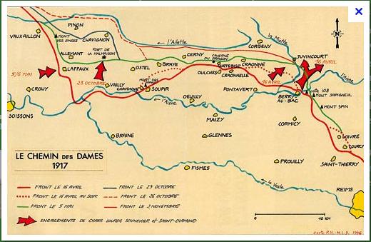 CHEMIN  DES  DAMES  1917  :  PLAN   DEFINITIF  DE  L'ATTAQUE