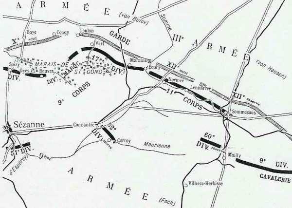 BATAILLE DES MARAIS ST GOND : TERRAIN + JOURNEES DU 28 AOUT AU 5 SEPTEMBRE 1914 :