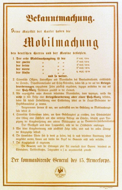 MOBILISATION ALLEMANDE 1914