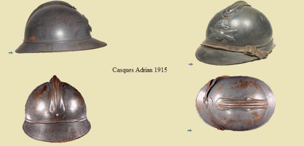 EVOLUTION DE L'UNIFORME FRANCAIS DURANT LA GUERRE 1914-1918 : LE CASQUE :
