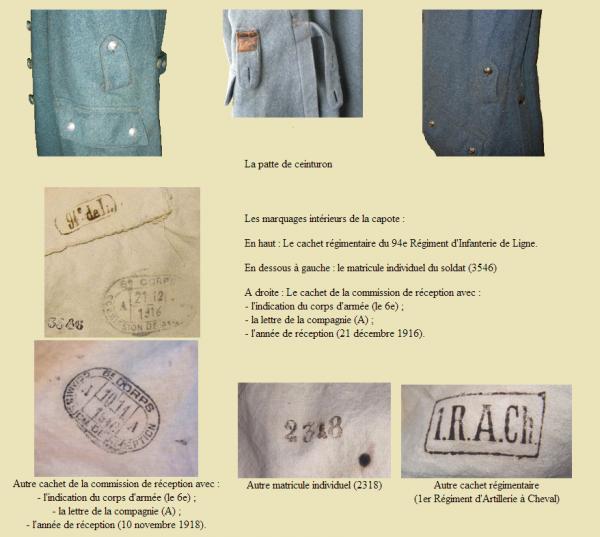 EVOLUTION DE L'UNIFORME FRANCAIS DURANT LA GUERRE 1914-1918 : LA CAPOTE SUITE :