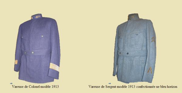 EVOLUTION DE L'UNIFORME FRANCAIS DURANT LA GUERRE 1914-1918 : LA VAREUSE :