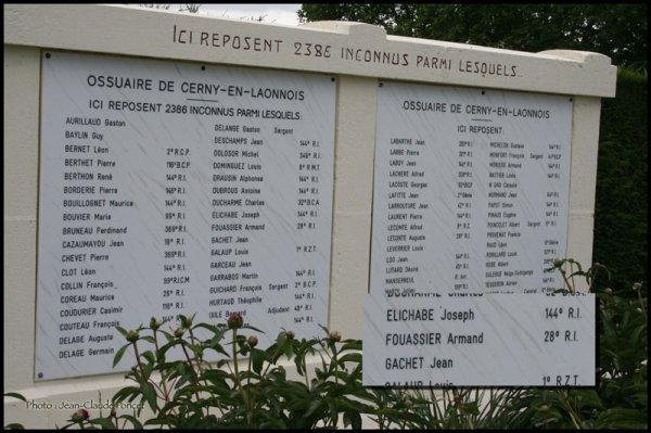 NECROPOLE DE CERNY - EN - LAONNOIS : CONFLIT 1914 1918