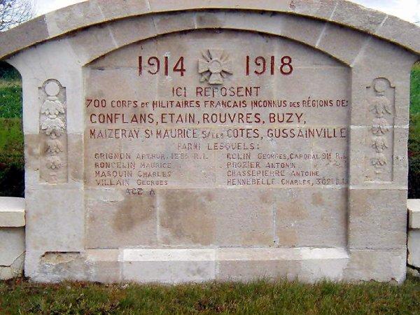 NECROPOLE NATIONALE DE BUZY - DARMONT : CONFLIT 1914 1918