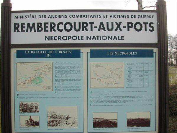 NECROPOLE NATIONALE DE REMBERCOURT-AUX-POTS. : CONFLIT 1914 1918