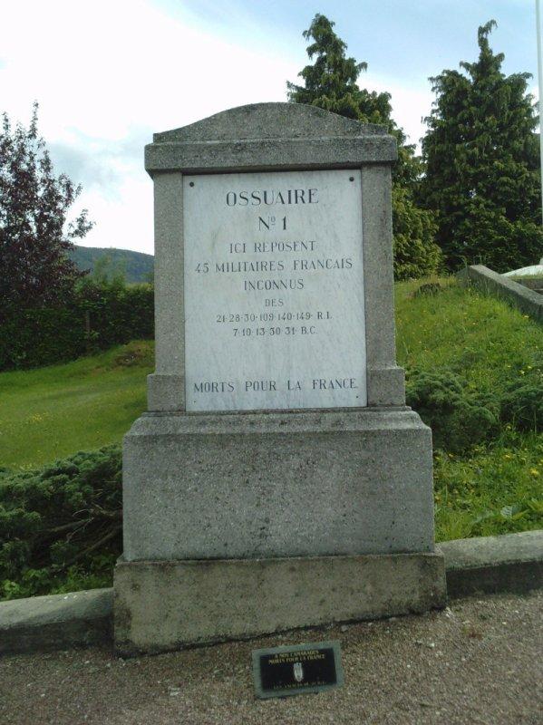 NECROPOLE NATIONALE DE SAINTE- CROIX- AUX- MINES : CONFLIT 1914 1918