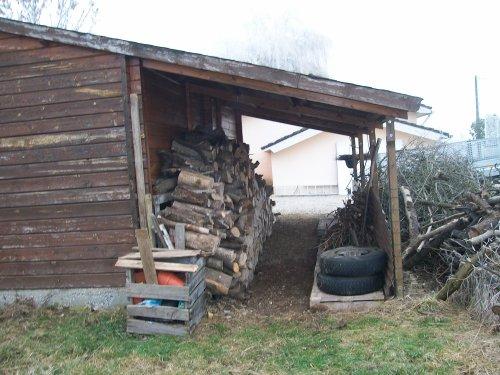 Rangement de l'abris bois