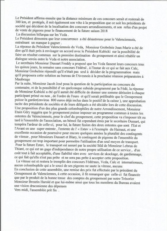 Assemblée Générale Extraordinaire du Groupement de Valenciennes du 18 Novembre  2017
