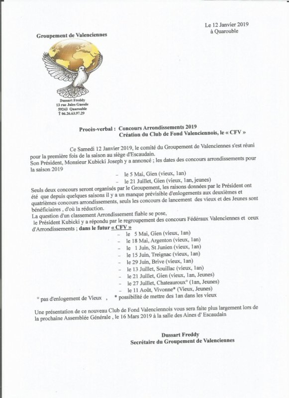 Communiqué du Groupement de Valenciennes