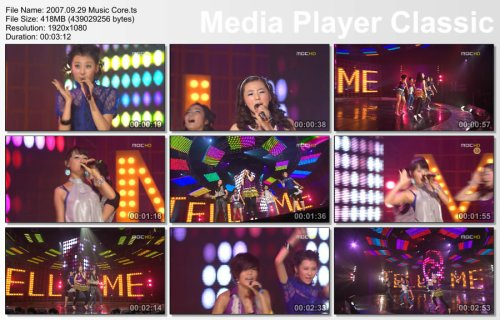2007.09.29 Wonder Girls - Tell Me @ Music Core