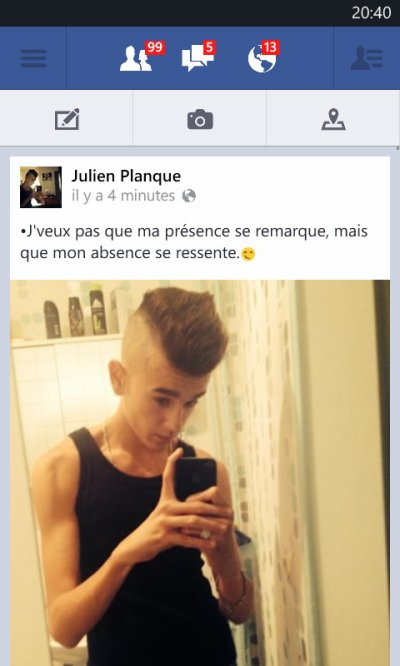 Screen de mon facebook.