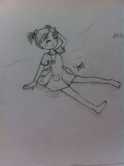 ptite fille qui prend l'air ( dessin 2013)