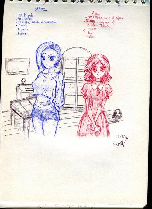 2 soeurs différentes au stylo