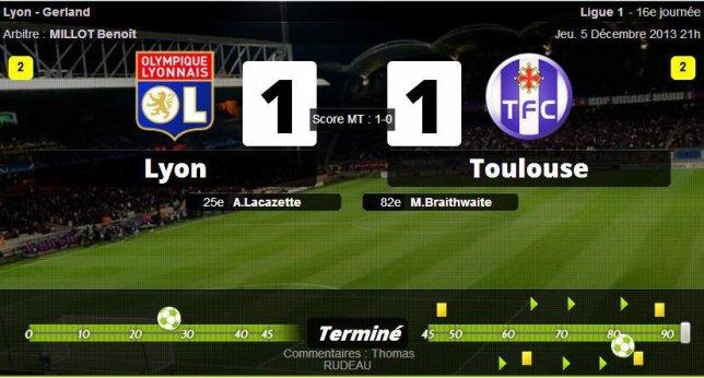 • Toulouse fait craquer Lyon !