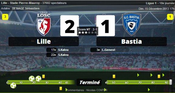 • Lille assure contre Bastia !