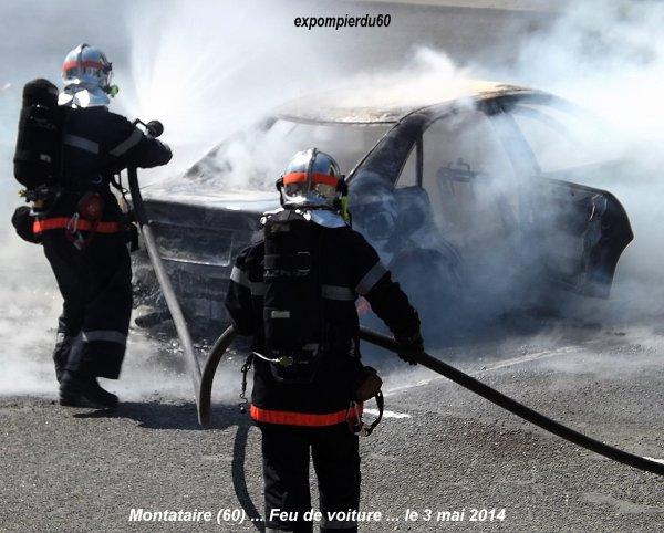 MONTATAIRE (60) ... FEU DE VOITURE SUR UN PARKING ... LE 3 MAI 2014