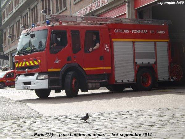 PARIS (75) ... DEPART DU P.S.E CHATEAU LANDON (BSPP) ... LE 6 SEPTEMBRE 2014
