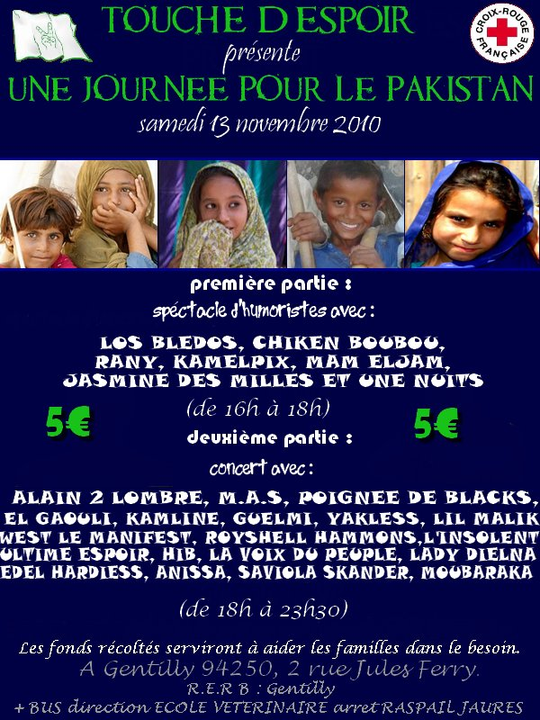 L'ASSOCIATION TOUCHE DESPOIR ORGANISE UNE JOURNEE POUR LE PAKISTAN