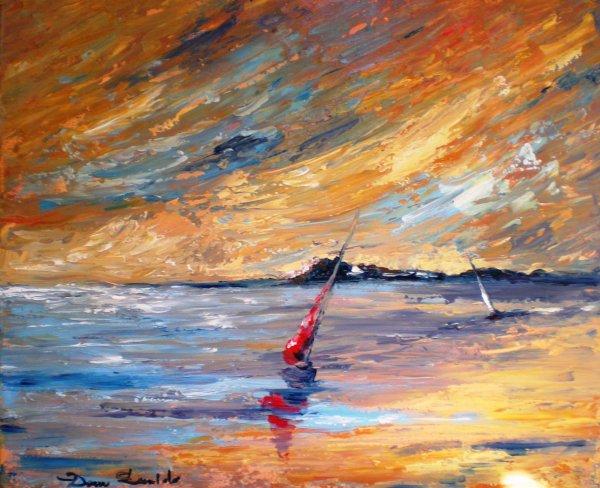 Dam domido marine au couteau sur toile peinture for Peinture originale sur mur