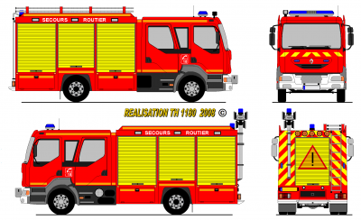 Renault midlum vsr pompiers france world secours paint - Comment dessiner un camion de pompier ...
