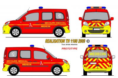 Renault kangoo 2008 secours m dical sdis 26 prototype - Comment dessiner un camion de pompier ...