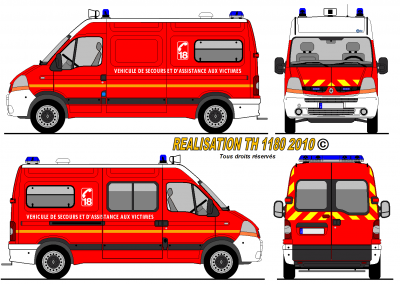 Renault master l2 h2 sp france world secours paint - Comment dessiner un camion de pompier ...
