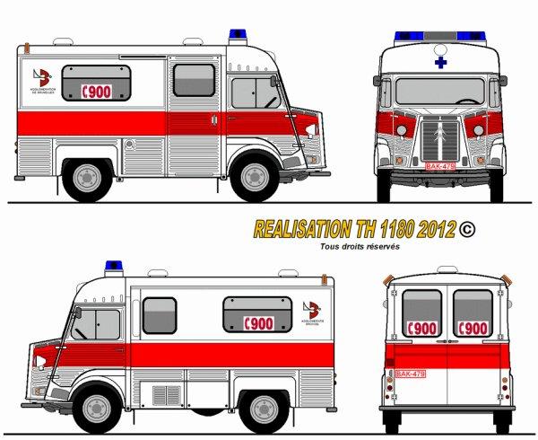 Citroen HY  A 14 pompiers Bruxelles 1974