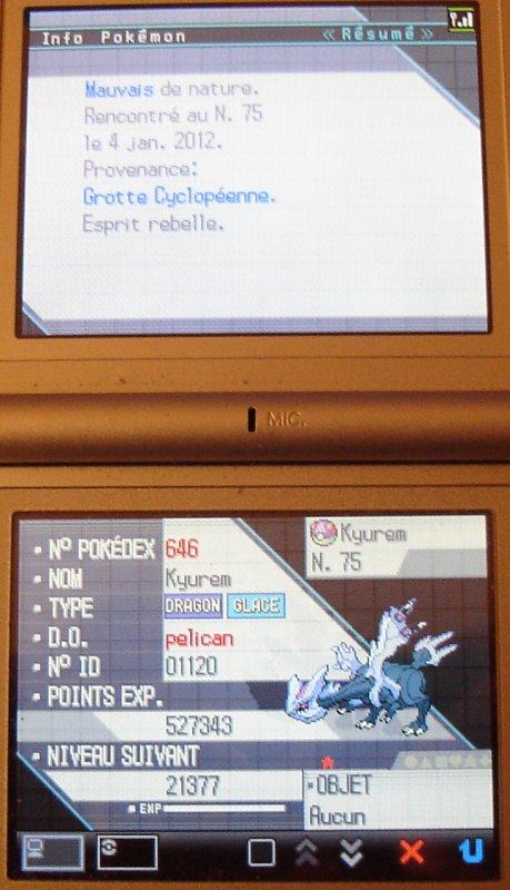 un nouveau shiney par reset le 4 janvier 2012 au bout de 3454 resets sur version blanche fr