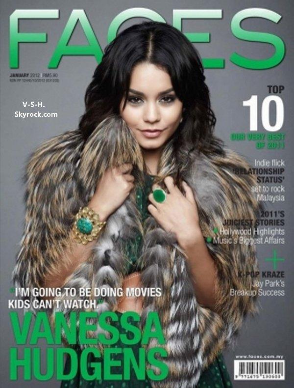 """Vanessa en couverture du numéro de Janvier 2012 du magazine """" Faces """" de Malaisie."""
