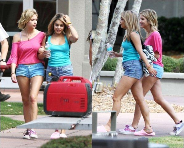 *  06/03/12 : Vanessa sur le set de Spring Breakers avec sa co-star Ashley Benson en Floride. Cette fois on est fixé : C'est une perruque  puisqu'il y a une photo de Nessa sans !    *