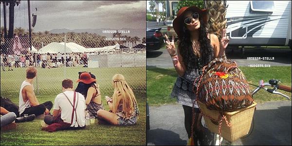 *   13 avril 2012 : Comme chaque années, Vanessa Hudgens s'est rendue au festival de musique de Coachella avec Austin Bulter, Kim Hidalgo, Laura New ainsi que Shelley Buckner. Vanessa devrait être présente les 3 jours du festival.   *