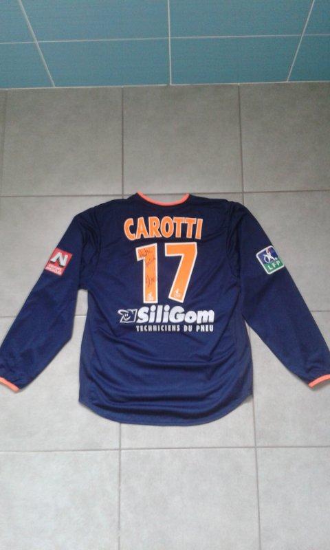 Maillot du MHSC porté par Bruno Carotti saison 2003-2004 dédicacé