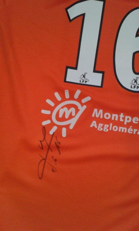 Maillot du MHSC porté par Geoffrey JOURDREN lors de la saison 2009-2010 (dédicacé)