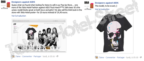 Article n°2270 __ | Annonce : Facebook - Designers against AIDS  | Tokio-Hotel-Street ©