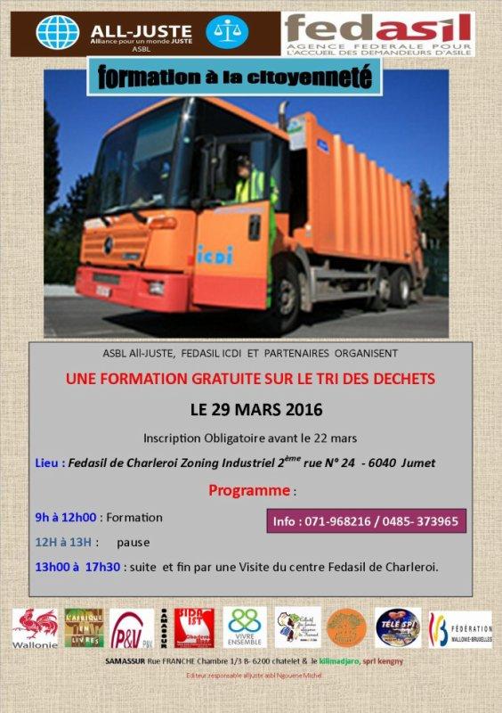 UNE FORMATION GRATUITE SUR LE TRI DES DECHETS     LE 29 MARS 2016